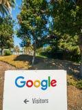 Google logo at Googleplex headquarters main office. Mountain View, USA - September 25, 2018: Google logo at Googleplex headquarters main office royalty free stock photos