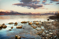 Mountain view of Utah Lake Stock Image