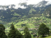 Mountain view. View of a village at the bottom of the mountain Stock Photography