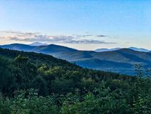 Mountain view in white mountains. Layers of mountains in white mountains in New Hampshire Stock Photos