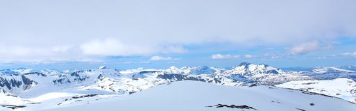 Mountain view in winter. View of snowy mountain area, Norway Stock Photography