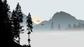 Mountain View z latającymi ptakami Obraz Royalty Free