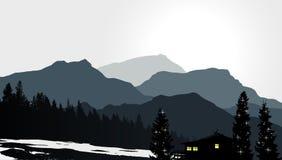 Mountain View z osamotnionym domem ilustracja wektor