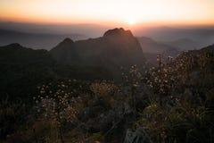 Mountain View zur Sonnenuntergangzeit im warmen Ton Lizenzfreies Stockfoto