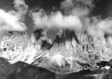 The mountain views in black and white Stock Image