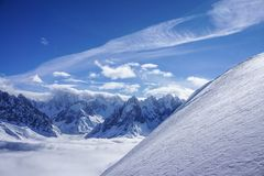 Mountain views in Chamonix. A fantastic temperature inversion on a cold day in winter stock photos