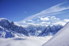 Mountain views in Chamonix. A fantastic temperature inversion on a cold day in winter royalty free stock images