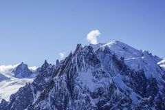 Mountain views in Chamonix. Looking across to the aguille du midi stock image
