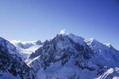 Mountain views in Chamonix. Looking across to the aguille du midi royalty free stock photo
