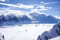 Mountain views in Chamonix. Looking across to Mont blanc over a fantastic temperature inversion royalty free stock image