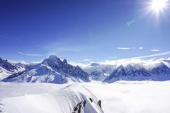 Mountain views in Chamonix. Looking across the valley to a large glacier stock photo