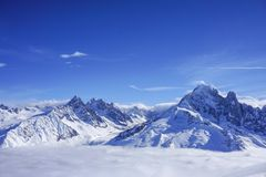 Mountain views in Chamonix. Looking across the valley to a large glacier royalty free stock image