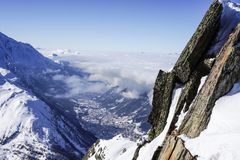 Mountain views in Chamonix. Looking down to town from the Grand Montet royalty free stock image