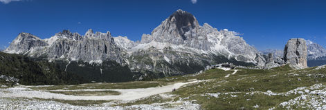 Mountain views of the Dolomites. Lagazuoi, Tofana di Rozes and Five Towers, Dolomites - Italy stock photos