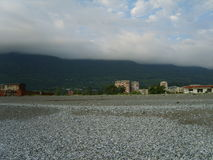 Mountain views with the impending fog. The view of the mountains from the beach with the impending fog Stock Images