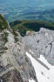 Mountain views in Switzerland. Mountain views from Mt Santis in Switzerland Stock Photo