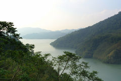 Mountain views in Taoyuan Taiwan. Mountain and water views from a top a high road in Taoyuan Taiwan Stock Photography