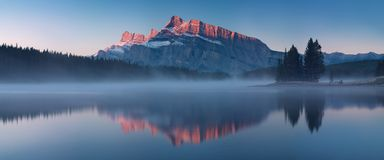 The mountain views when you are in Two Jack Lake campground of Banff National Park in Alberta, Canada stock photography