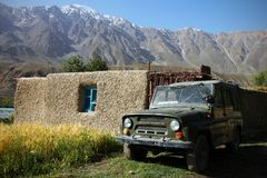 Mountain village. Small settlement in Pamir, Tajikistan, Central Asia Stock Images