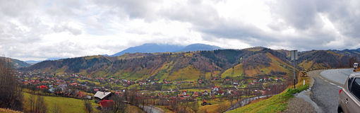 Mountain village and 180 degree road royalty free stock photography