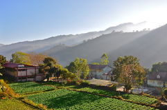 quiet mountain village sunrise Stock Photos