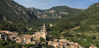 Valldemossa mountain village , Mallorca , Spain. Historic mountain village of Valldemossa in Tramuntana mountains ( Mallorca , Spain Royalty Free Stock Photo