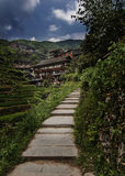 Mountain village. Filmed in Guangxi province of China Dragon Mountain Royalty Free Stock Images