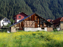 Mountain Village. Group of houses in a mountain village through, Govedartsi, Bulgaria stock image