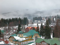 Mountain village. Spindleruv Mlyn - fog-covered mountain village in Czech Republic Royalty Free Stock Photography