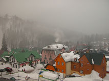 Mountain village. Spindleruv Mlyn - fog-covered mountain village in Czech Republic Stock Photo
