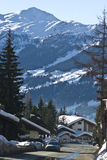 Mountain village. View of verbier in the swiss alps on perfect crisp winters day stock photos