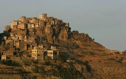 Mountain Village Al Hajjara, Yemen Stock Photos