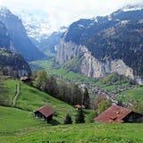 Mountain village in the Alps, Switzerland . Stock Photo