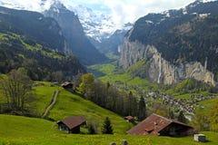 Mountain village in the Alps, Switzerland . Stock Photos