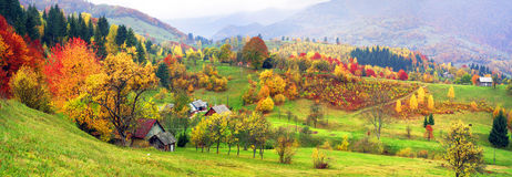 Mountain village in autumn Stock Images