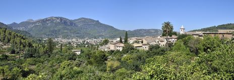 Mountain Village Biniaraix. Panorama view on the mountain village Biniaraix in Mallorca Royalty Free Stock Image