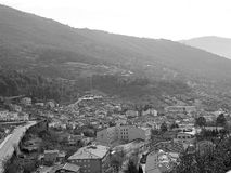 Mountain village on black and white Royalty Free Stock Image