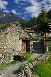 Mountain village of Cheneil, Aosta Valley, Italy Royalty Free Stock Photo