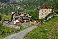 Mountain village of Cheneil, Aosta Valley, Italy Royalty Free Stock Photography