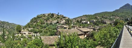 Mountain Village Deia. The panorama view of the mountain village Deia in Mallorca Stock Photo