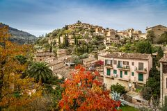 Mountain village Deia. Beautiful Mallorquin mountain village Deia in the `Serra de Tramuntana Royalty Free Stock Photos