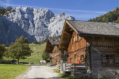 Mountain village Eng. Hay huts in the idyllic mountain valley of Eng in Tyrol stock photography