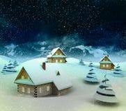 Mountain village enviroment at winter snowfall Royalty Free Stock Image