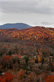 Mountain village in the fall. Picture of a smoky mountains town in the fall Royalty Free Stock Image