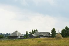 Mountain village farmhouses Royalty Free Stock Photography