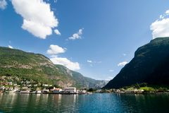 Mountain Village in a Fjord Royalty Free Stock Photo