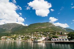 Mountain Village in a Fjord stock photography