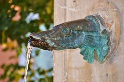 Mountain village fountain. Water fountain in a village in France Stock Photo
