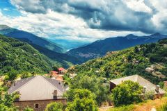 Landscape view of Mavrovo. The mountain village of Galicnik, perched on the edge of Bistra mountain in Macedonia, with a view across to the Desat mountains Stock Images