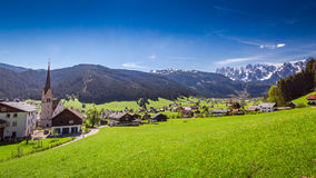 Mountain village Gosau in Alps Stock Photography